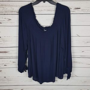 American Rag | Off The Shoulder Navy 3X Blouse